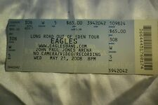 The Eagles Unused/Untorn Concert Ticket; Jpja, Charlottesville Va. May 21, 2008