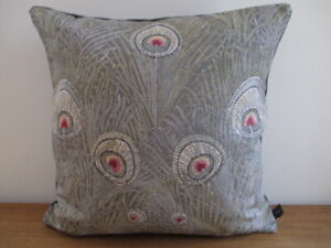 Liberty Morris Hera Peacock Linen Arts Opal Grey & Velvet Fabric Cushion Cover S