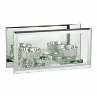 Silver Diamante 'LOVE' Mirrored Glass Twin Tealight Candle Holder Ornament Gift