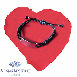 Personalised Engraved Rope ID Bracelet Free Engraving - Valentine's Gift Idea!