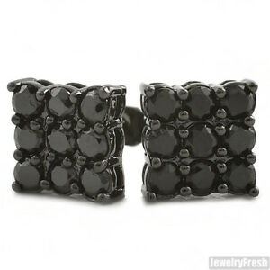 Black 9 Stone Prong Set CZ Mens Stud Earrings 2 Carat