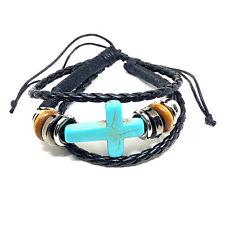 turquoise Cross - Adjustable Bracelet Bracelet - Black Leather Bracelet With