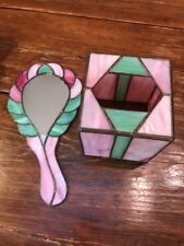 Green & Rose Color Stained Leaded Glass Tissue Box & Hand Mirror Art Deco Style