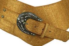 Women Wide Western Fashion Belt Metallic Gold Faux Leather Bling Buckle XL XXL
