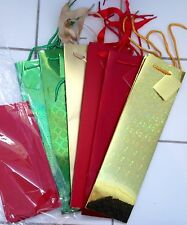 Lot of 6 New Wine Gift Bags Red Green Gold Holographic Metallic w/ Tags Tissue