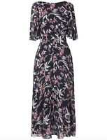 BNWOT L.K. Bennett Delina 100% Silk Print Midi Dress blue pink size 10 38 £249