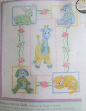 """NEW~Dimensions Baby Hugs """"BABY'S FRIENDS"""" Quilt Stamped Cross Stitch Kit~73067 D"""