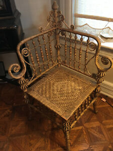 Antique Victorian Wicker Corner Chair, Heywood Bros, pre-1897, original finish