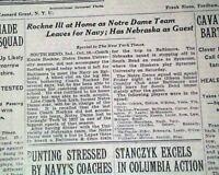 KNUTE ROCKNE Notre Dame Irish College Football Coach SIDELINED 1929 Newspaper