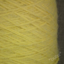 SUPER SOFT BRUSHED YARN LEMON YELLOW DOUBLE KNITTING 250g CONE MOHAIR FEEL DK