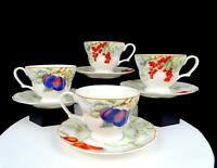"CHARTER CLUB CASUALS SUMMER GROVE 4 PC MUSTARD TRIM 3 1/8"" CUP & SAUCER 1997-"