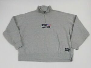 Roots Adult XL Extra Large Casual 2002 Olympic Sweater Quarter Zip Gray Men