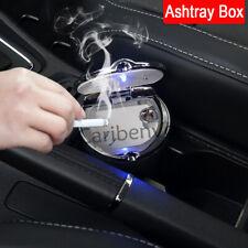 Steel Lid Black Car Water Cup Slot LED Light Cigarette Clean Ashtray Box Storage