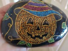 Hand Painted Rock Jack O Lantern Pumpkin Art