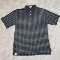 Peter Millar Golf Polo Shirt Mens Large Short Sleeve Cotton Black White Check