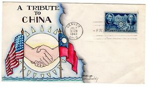 #906 Chinese Resistance Dorothy Knapp Hand Painted Cachet 1942 WWII FDC
