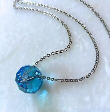 "Turquoise Crystal Necklace Oval Faceted Single Bead on 26"" Stainless Steel Chain"