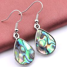Top Quality Natural Cut Water Drop Abalone Shell Gems Silver Hook Earrings
