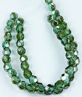 25 Prairie Green-Celsian Czech Firepolished Faceted Round Glass Beads 6mm