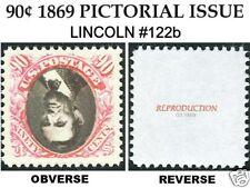 1869 90¢ LINCOLN PICTORIAL INVERTED #122b REPLICA