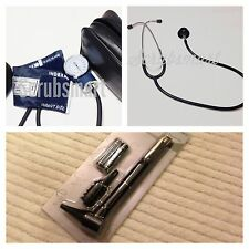 Infant Pediatric Blood Pressure BP Cuff , Stethoscope & Otoscope Set -Black
