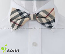 New Yellow Checkers Plaid Mens Pre-tied Tuxedo Wedding Polyester Bow Tie BO017