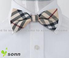 New Yellow Checkers Plaid Mens Pre-tied Tuxedo Wedding Polyester Bow Tie BO017