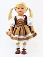Brown German Costume Dirndl Dress for American Girl 18 inch Doll Clothes LOVV!