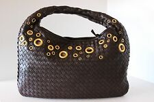 BOTTEGA VENETA INTRECCIATO Brown CERVO GROMMET HOBO SHOULDER BAG HANDBAG VGUC