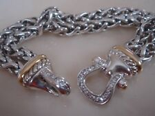 DAVID YURMAN 18K GOLD , SILVER DIAMOND CLASP DOUBLE WHEAT CHAIN BRACELET