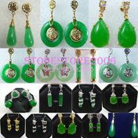 Green Jadeite Jade Silver Stud Earrings Long Drop Dangle Hook Earring Jewelry