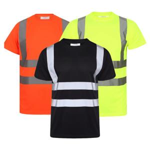 Hi Vis Viz Visibility Short Sleeve Crew Neck Highway Work T-Shirt Size S-5XL