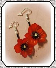 Poppy Earrings with Black Stems..Silver Plated Hooks...Realistic Shape!