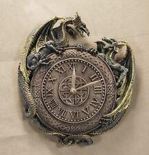 Tolle Wanduhr    2 DRACHEN     Deko Geschenk Neu Dragon Mystik Gothic OVP