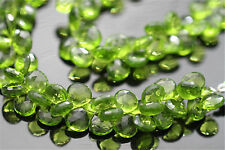 Peridot Green Quartz Faceted Heart Briolettes 10 - 11 mm 6 Gemstone Beads
