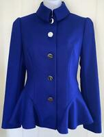 NEW TED BAKER WOMENS ROYAL BLUE PEPLUM DETAIL JACKET RETAIL $425 - SIZE 0(US2)