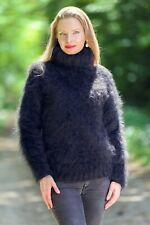 Black fuzzy sweater mohair top light soft blouse hand knitted jumper SUPERTANYA