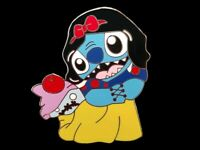 Fantasy Pin - Disney Stitch dressed as Snow White holding Scrump and Red Apple