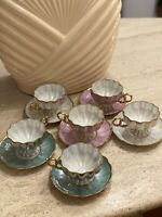 Royal Sealy China Japan Cup & Saucer Set Of 6 Blue White Pink