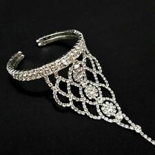 Slave Bracelet with Ring Bangle Hand Chain Bridal Jewelry Rhinestone Hochzeit