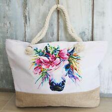 cc421b13a7a Bolso Con Caballo Blanco Unicornio Cuerda Flores Jutte Grande Shopper  Piscina