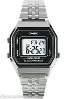 Casio LA680WA-1D Ladies Mid-Size Silver Digital Retro Vintage Watch Black Dial