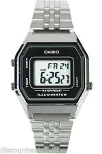 Casio LA680WA-1D Ladies Mid-Size Silver Digital Retro Vintage Watch Black Dial