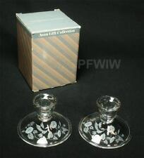 Set of 2 Vintage Avon Hummingbirds Lead Crystal Candle Holders 1980s