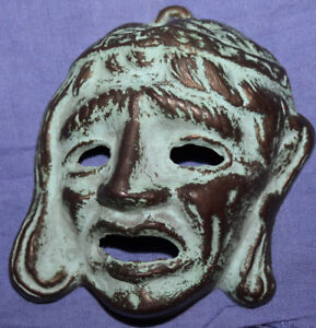 Vintage hand made bronze wall decor mask grotesque