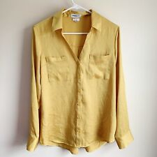 Express Portofino Shirt Slim Mustard Yellow Button Tab Sleeve Career Top Large