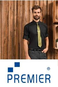 New Mens Premier Black Poplin Shirt Roll Up Sleeve PR206 CLEARENCE