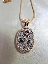 "Clear Rhinestones & Flower 17.5"" Nwot Fine Fashion Gold Tone Pendant Necklace"
