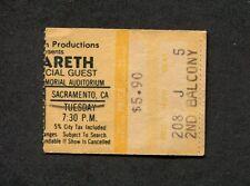 1970's Nazareth concert ticket stub Sacramento Memorial Auditorium