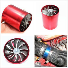 Universal Red Dual Fan Turbonator Fuel Saver For Turbo Supercharger Air Intake